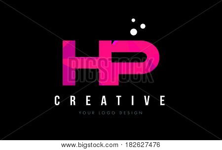 Hp H P Letter Logo With Purple Low Poly Pink Triangles Concept