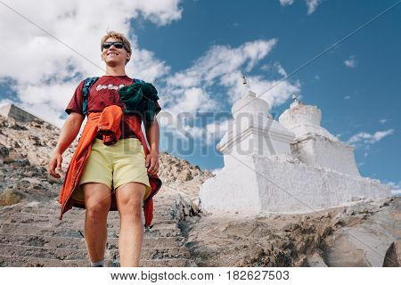 Young man tourist visit holy place in Tibet