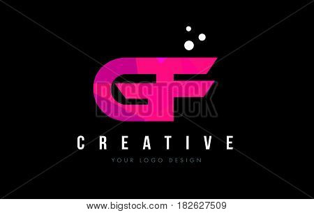 Gf G F Letter Logo With Purple Low Poly Pink Triangles Concept