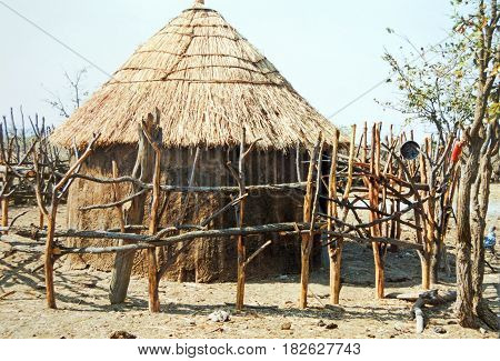 picture of a hut in a Himba village in Khorixas, Namibia,Africa.