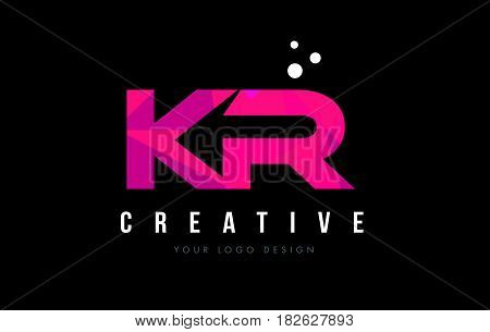 Kr K R Letter Logo With Purple Low Poly Pink Triangles Concept