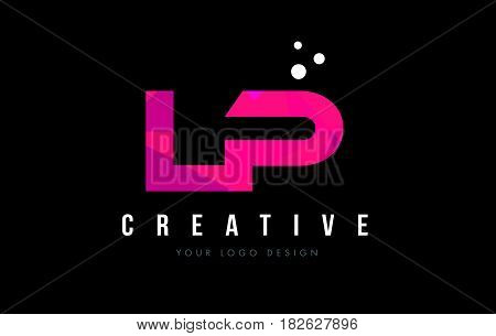 Lp L P Letter Logo With Purple Low Poly Pink Triangles Concept
