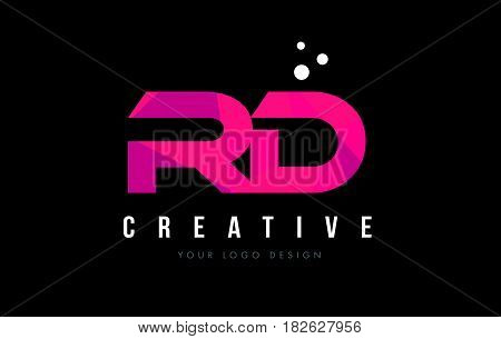 Rd R D Letter Logo With Purple Low Poly Pink Triangles Concept