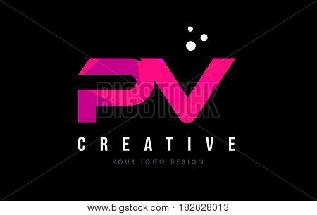 Pv P V Letter Logo With Purple Low Poly Pink Triangles Concept