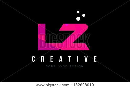 Lz L Z Letter Logo With Purple Low Poly Pink Triangles Concept