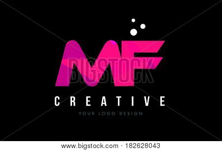 Mf M F Letter Logo With Purple Low Poly Pink Triangles Concept