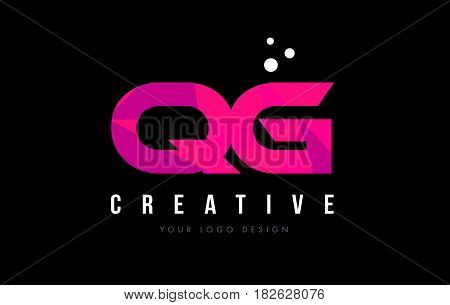 Qg Q G Letter Logo With Purple Low Poly Pink Triangles Concept