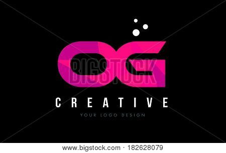 Og O G Letter Logo With Purple Low Poly Pink Triangles Concept