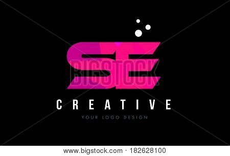 Se S E Letter Logo With Purple Low Poly Pink Triangles Concept