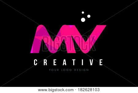 Mv M V Letter Logo With Purple Low Poly Pink Triangles Concept