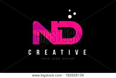 Nd N D Letter Logo With Purple Low Poly Pink Triangles Concept