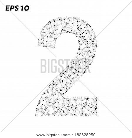 The Letter 2 Consists Of Points, Lines And Triangles. Vector Illustration.