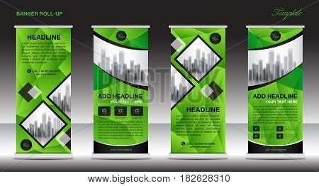 Green Roll Up Banner template and info graphics stand design advertisement display business flyer vector illustration