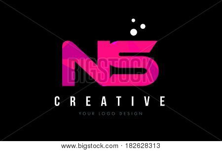 Ns N S Letter Logo With Purple Low Poly Pink Triangles Concept
