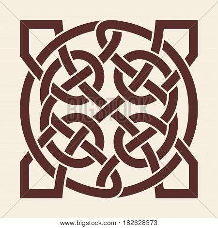 Celtic national ornament in the shape of a interlaced tape. Brown pattern on a beige background.
