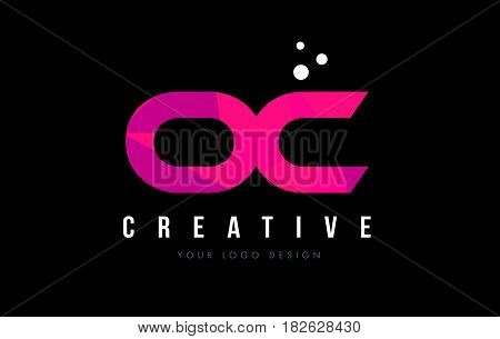 Oc O C Letter Logo With Purple Low Poly Pink Triangles Concept