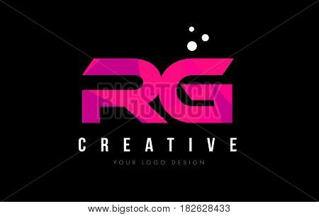 Rg R G Letter Logo With Purple Low Poly Pink Triangles Concept