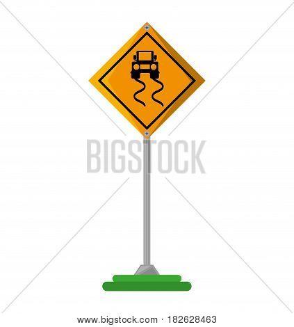 slippery road traffic signal vector illustration design