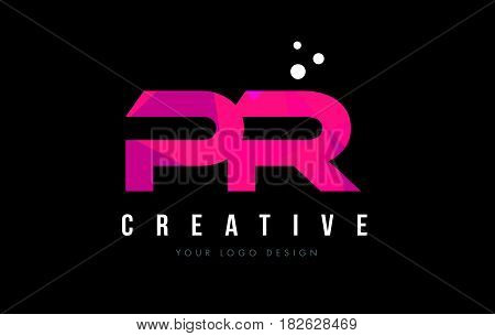 Pr P R Letter Logo With Purple Low Poly Pink Triangles Concept