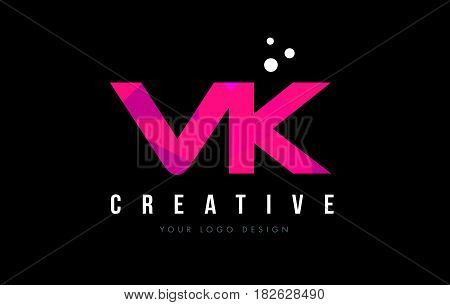 Vk V K Letter Logo With Purple Low Poly Pink Triangles Concept