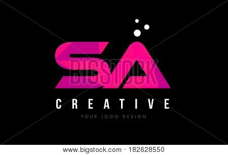 Sa S A Letter Logo With Purple Low Poly Pink Triangles Concept
