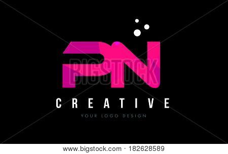 Pn P N Letter Logo With Purple Low Poly Pink Triangles Concept