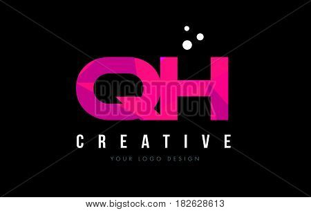 Qh G H Letter Logo With Purple Low Poly Pink Triangles Concept