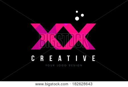 Xx X X Letter Logo With Purple Low Poly Pink Triangles Concept