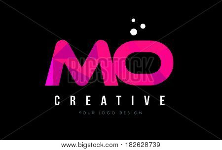 Mo M O Letter Logo With Purple Low Poly Pink Triangles Concept