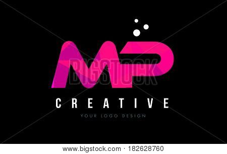 Mp M P Letter Logo With Purple Low Poly Pink Triangles Concept
