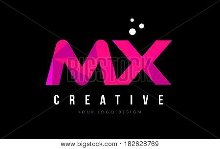 Mx M X Letter Logo With Purple Low Poly Pink Triangles Concept