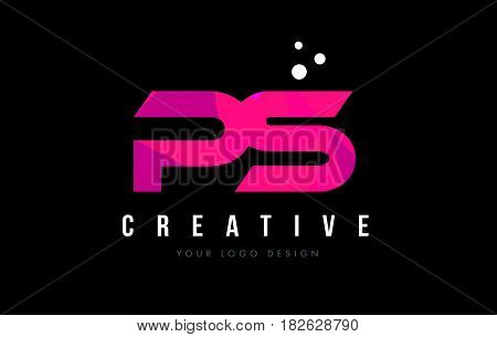 Ps P S Letter Logo With Purple Low Poly Pink Triangles Concept