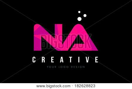Na N A Letter Logo With Purple Low Poly Pink Triangles Concept