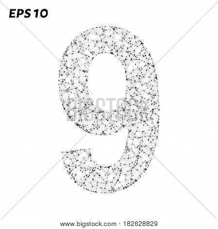 The Letter 9 Consists Of Points, Lines And Triangles. Vector Illustration.