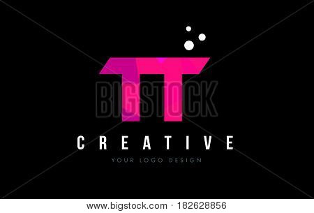Tt T Letter Logo With Purple Low Poly Pink Triangles Concept