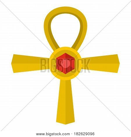 Golden Ankh symbol icon flat isolated on white background vector illustration