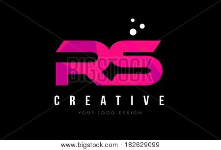 Rs R S Letter Logo With Purple Low Poly Pink Triangles Concept