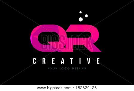 Qr Q R Letter Logo With Purple Low Poly Pink Triangles Concept