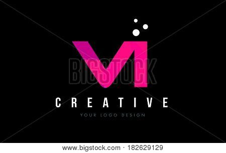 Vi V I Letter Logo With Purple Low Poly Pink Triangles Concept