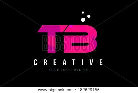 Tb T B Letter Logo With Purple Low Poly Pink Triangles Concept