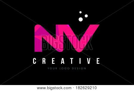 Nv N V Letter Logo With Purple Low Poly Pink Triangles Concept