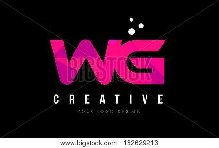 Wg W G Letter Logo With Purple Low Poly Pink Triangles Concept