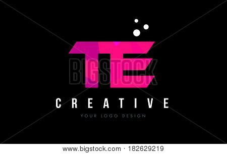 Te T E Letter Logo With Purple Low Poly Pink Triangles Concept