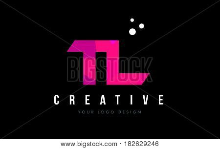 Tl T L Letter Logo With Purple Low Poly Pink Triangles Concept