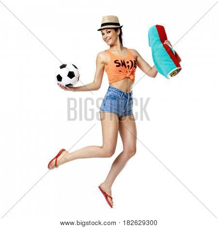 Beautiful brunette woman jumping with happiness isolated on whitebackground