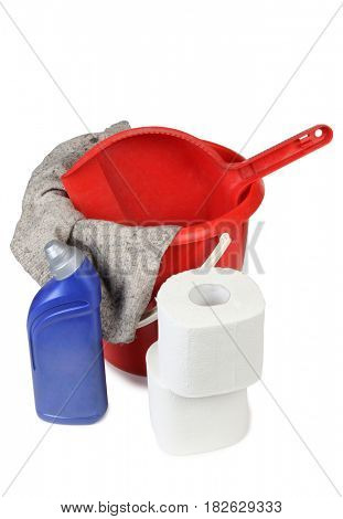 Protective and cleaning products on white background