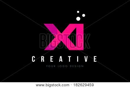 Xi X I Letter Logo With Purple Low Poly Pink Triangles Concept