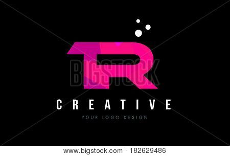 Tr T R Letter Logo With Purple Low Poly Pink Triangles Concept
