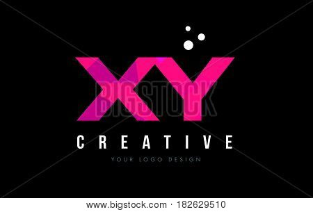 Xy X Y Letter Logo With Purple Low Poly Pink Triangles Concept