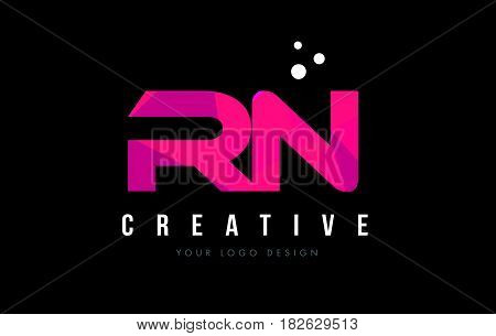 Rn R N Letter Logo With Purple Low Poly Pink Triangles Concept